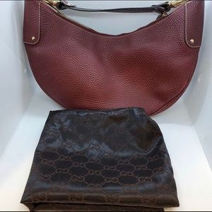 Gucci Crescent Moon Red Leather Hobo Bag Purse